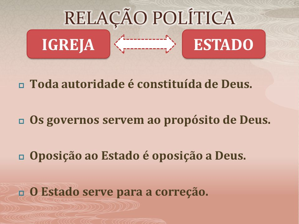 RELAÇÃO POLÍTICA IGREJA ESTADO Toda autoridade é constituída de Deus.
