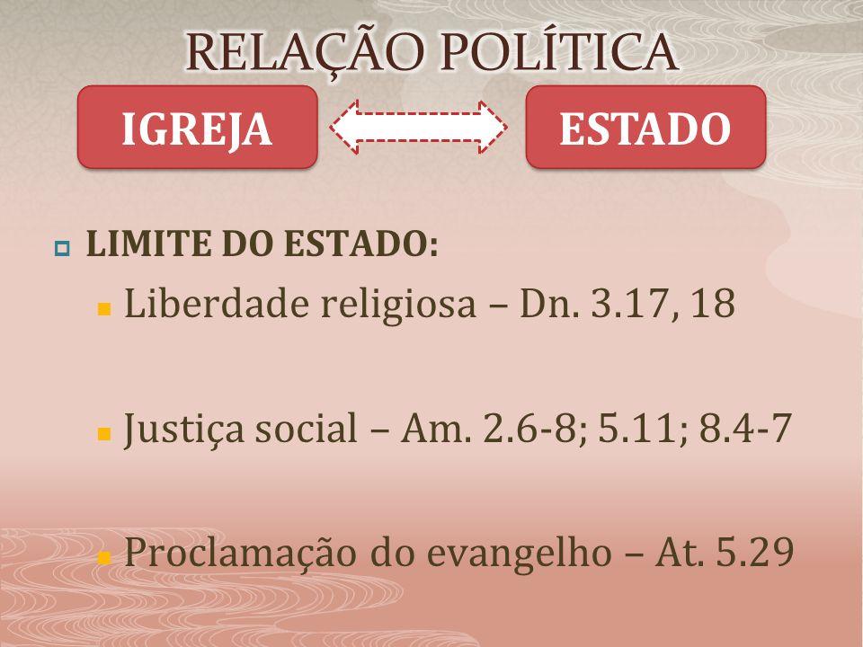 RELAÇÃO POLÍTICA IGREJA ESTADO Liberdade religiosa – Dn. 3.17, 18