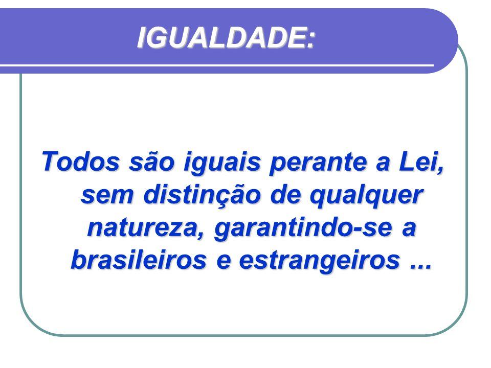 IGUALDADE: Todos são iguais perante a Lei, sem distinção de qualquer natureza, garantindo-se a brasileiros e estrangeiros ...