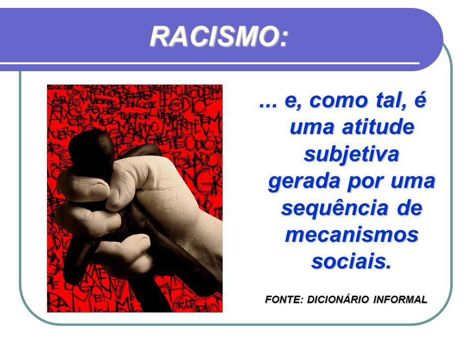 RACISMO: ... e, como tal, é uma atitude subjetiva gerada por uma sequência de mecanismos sociais.