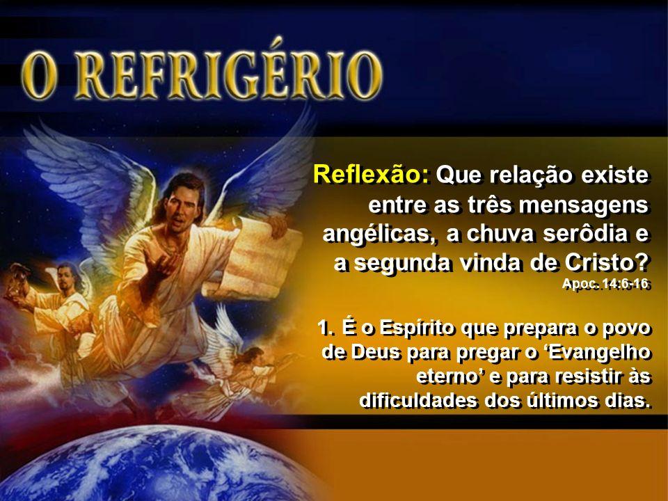 Reflexão: Que relação existe entre as três mensagens angélicas, a chuva serôdia e a segunda vinda de Cristo Apoc. 14:6-16