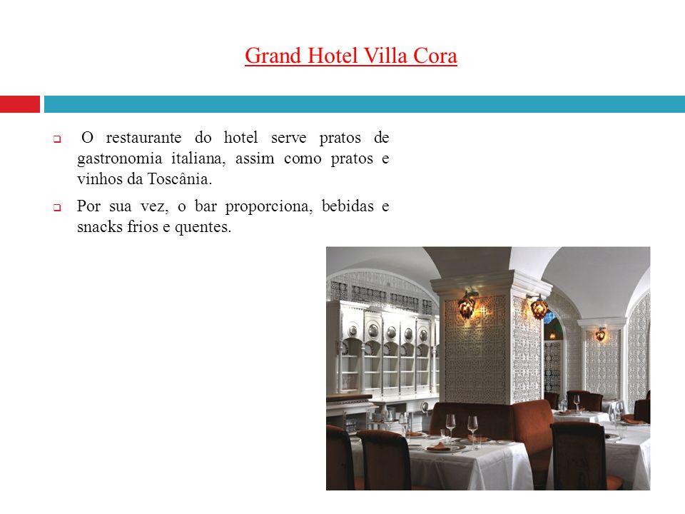 Grand Hotel Villa Cora O restaurante do hotel serve pratos de gastronomia italiana, assim como pratos e vinhos da Toscânia.