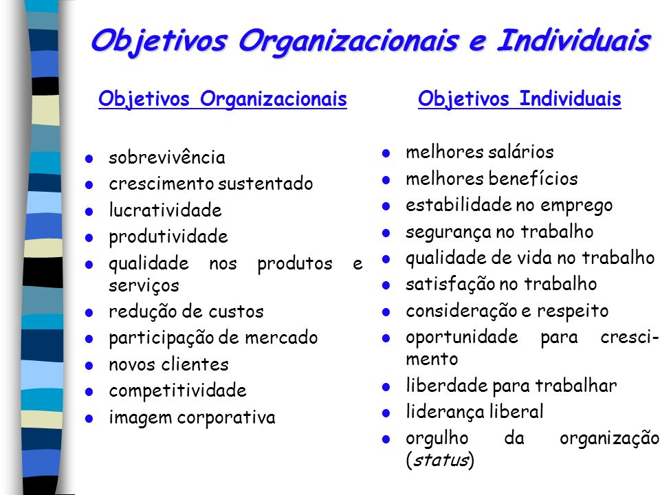 Objetivos Organizacionais e Individuais
