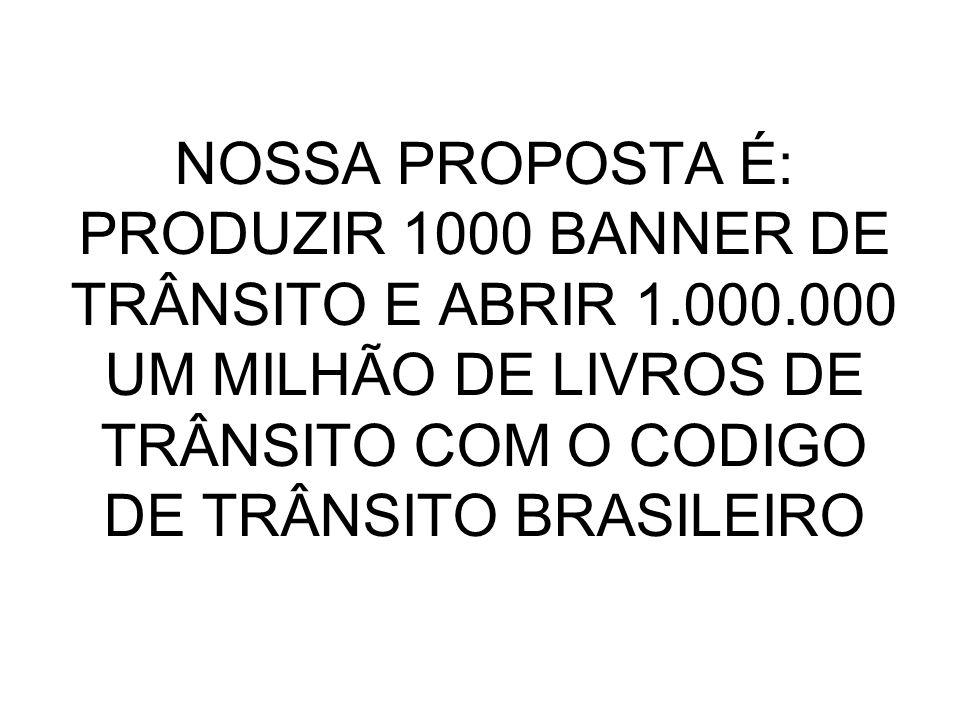 NOSSA PROPOSTA É: PRODUZIR 1000 BANNER DE TRÂNSITO E ABRIR 1. 000