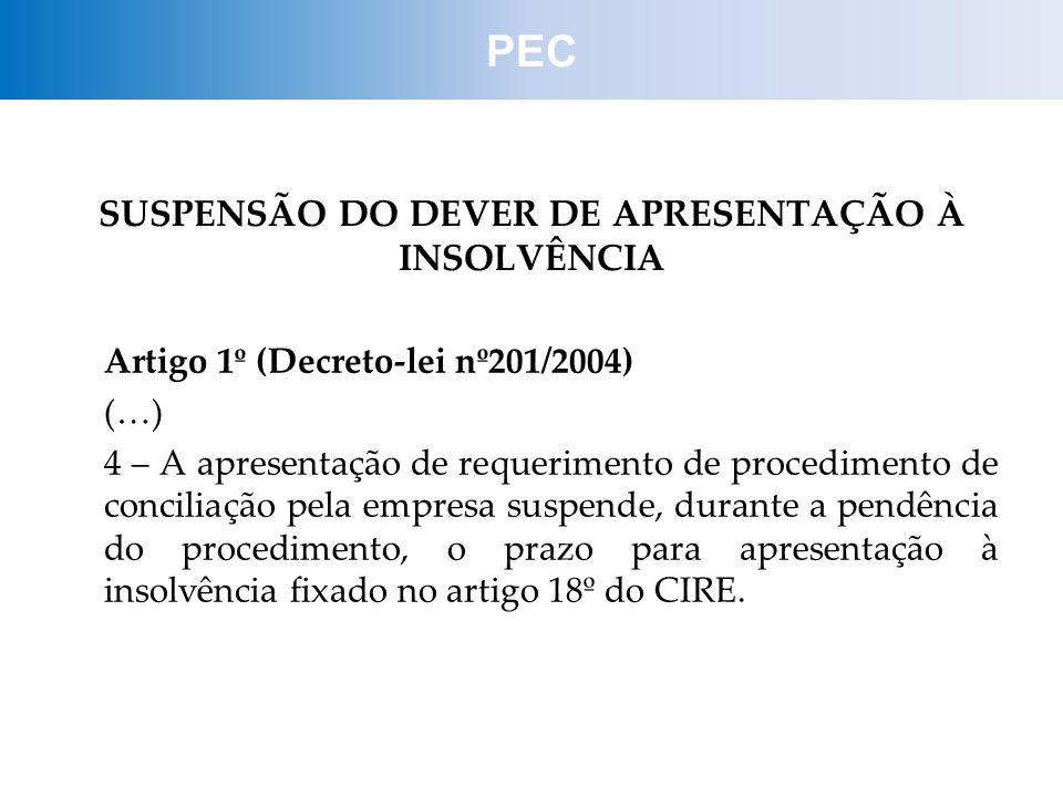 SUSPENSÃO DO DEVER DE APRESENTAÇÃO À INSOLVÊNCIA
