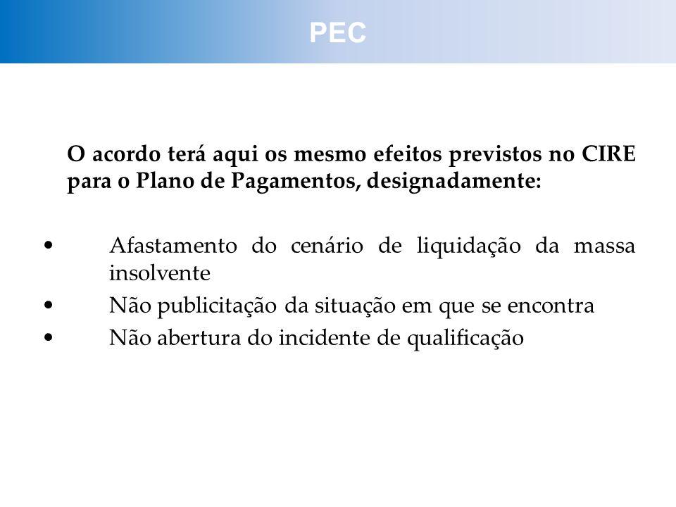 PEC O acordo terá aqui os mesmo efeitos previstos no CIRE para o Plano de Pagamentos, designadamente: