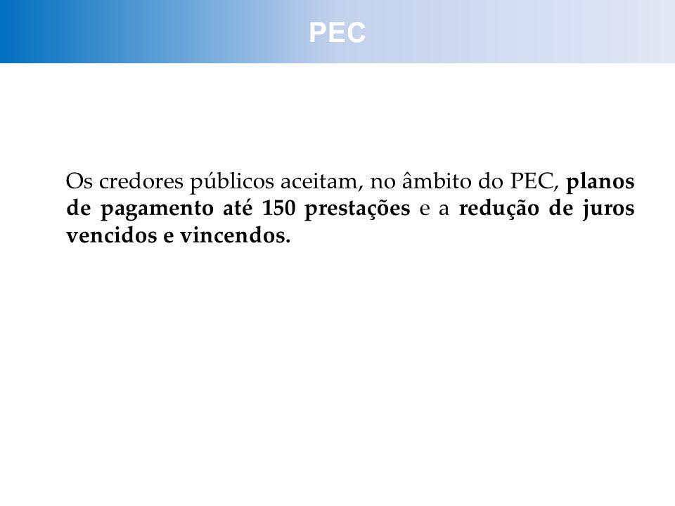PEC Os credores públicos aceitam, no âmbito do PEC, planos de pagamento até 150 prestações e a redução de juros vencidos e vincendos.