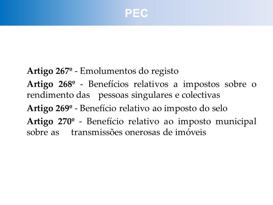 PEC Artigo 267º - Emolumentos do registo