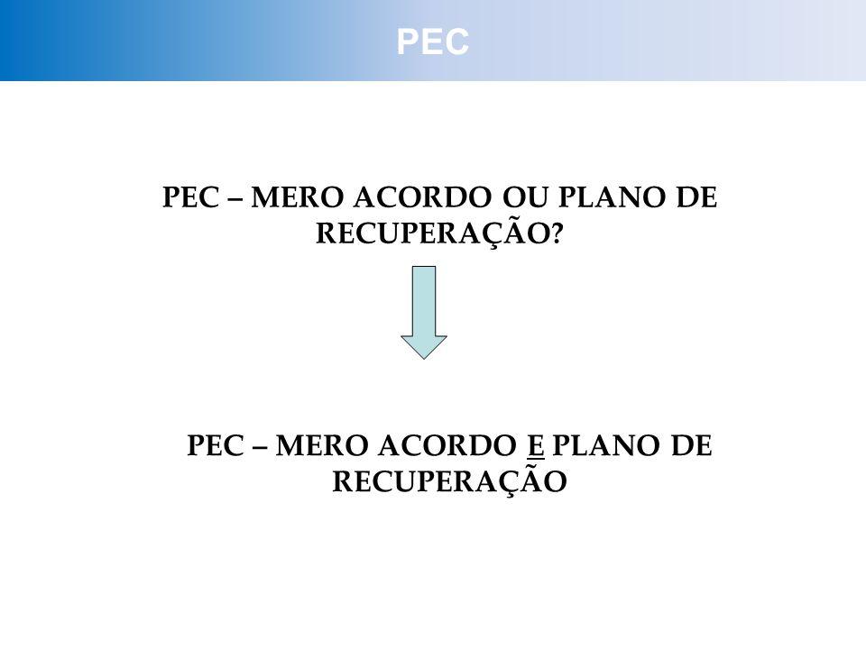 PEC PEC – MERO ACORDO OU PLANO DE RECUPERAÇÃO