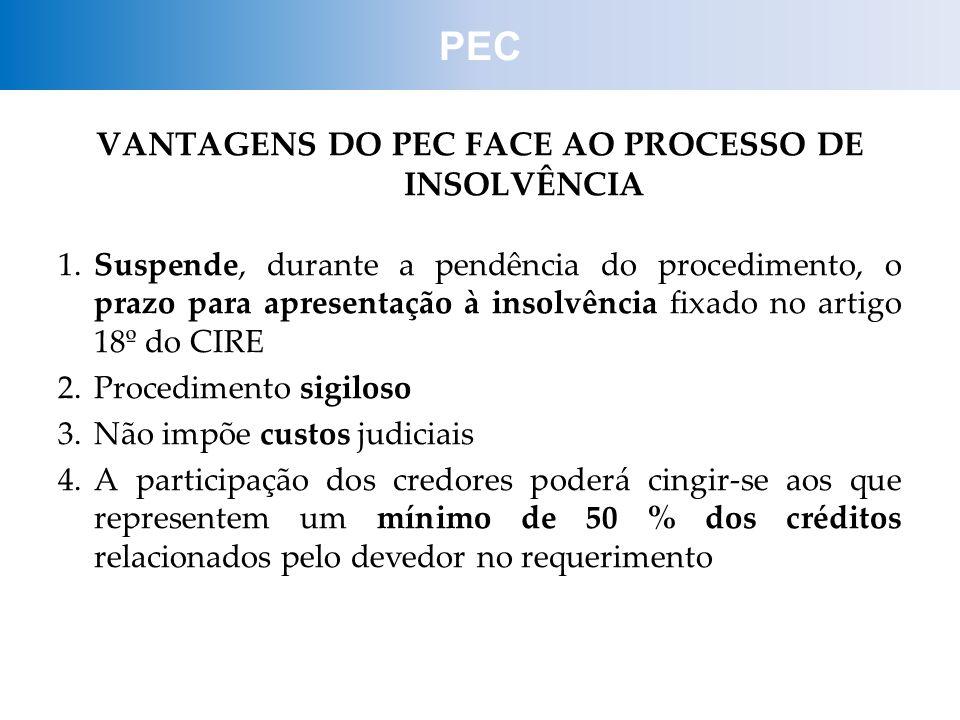 VANTAGENS DO PEC FACE AO PROCESSO DE INSOLVÊNCIA