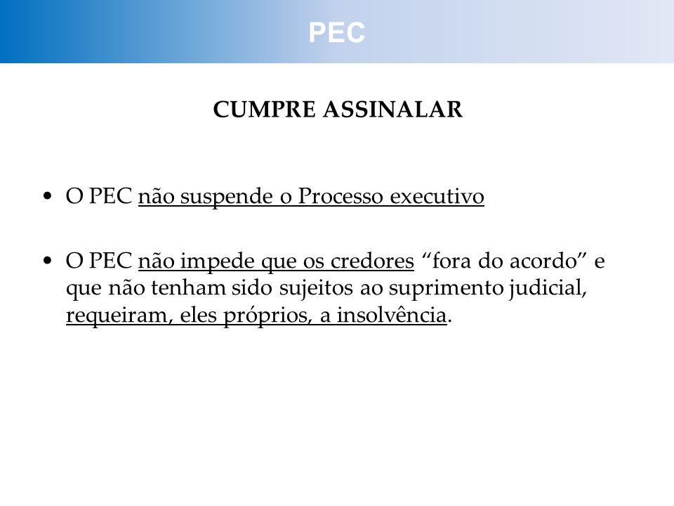 PEC CUMPRE ASSINALAR O PEC não suspende o Processo executivo