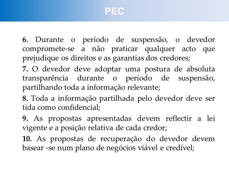 PEC 6. Durante o período de suspensão, o devedor compromete-se a não praticar qualquer acto que prejudique os direitos e as garantias dos credores;