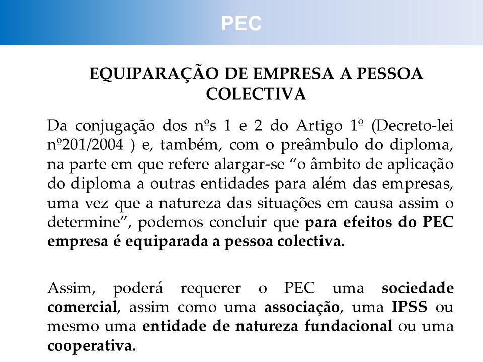 EQUIPARAÇÃO DE EMPRESA A PESSOA COLECTIVA