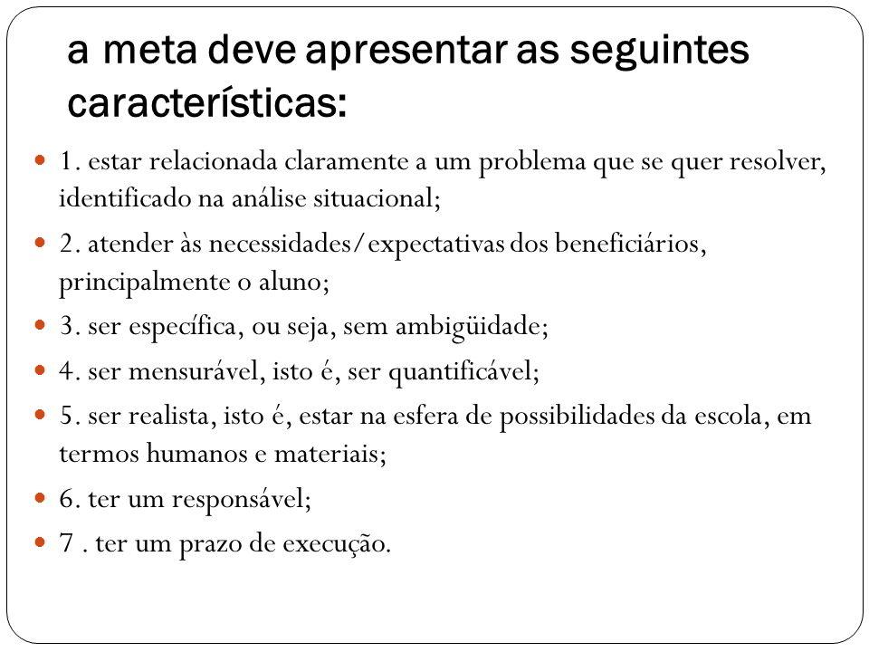 a meta deve apresentar as seguintes características: