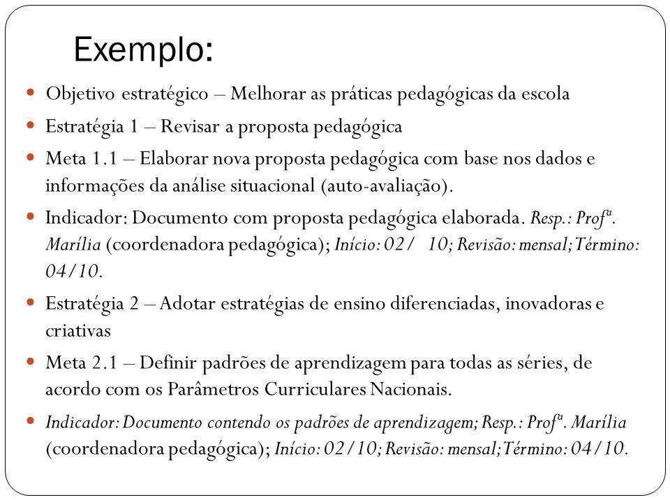 Exemplo:Objetivo estratégico – Melhorar as práticas pedagógicas da escola. Estratégia 1 – Revisar a proposta pedagógica.