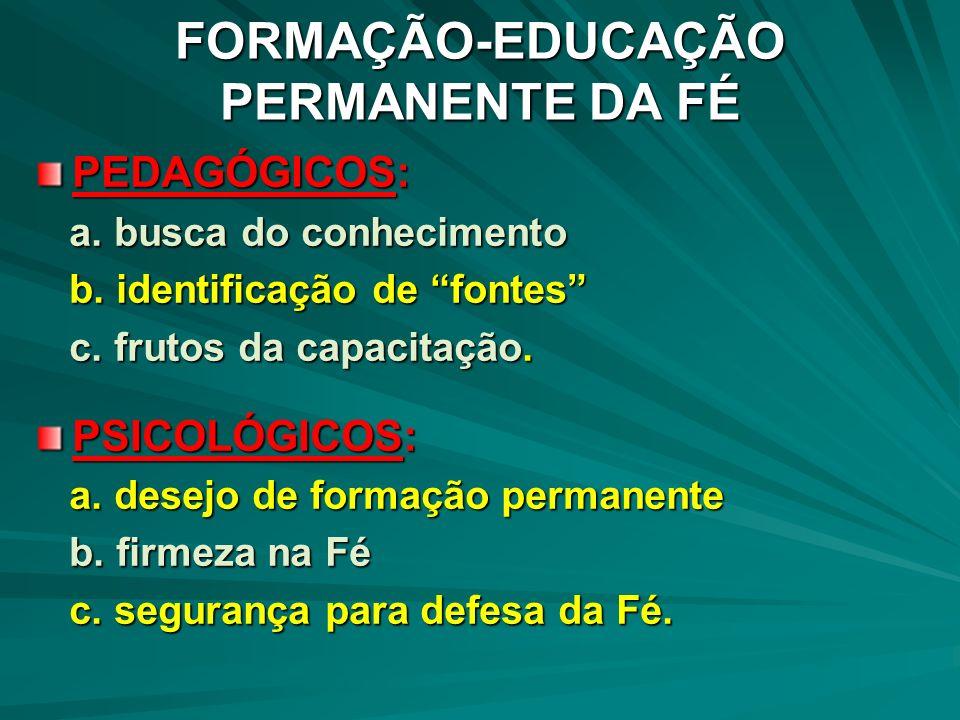 FORMAÇÃO-EDUCAÇÃO PERMANENTE DA FÉ