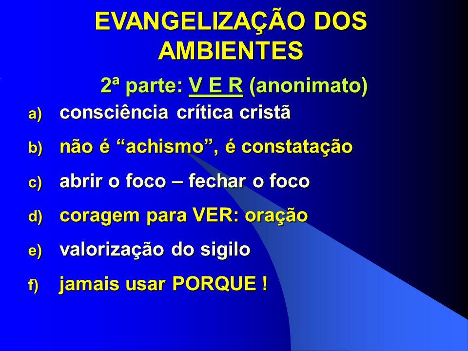 EVANGELIZAÇÃO DOS AMBIENTES 2ª parte: V E R (anonimato)