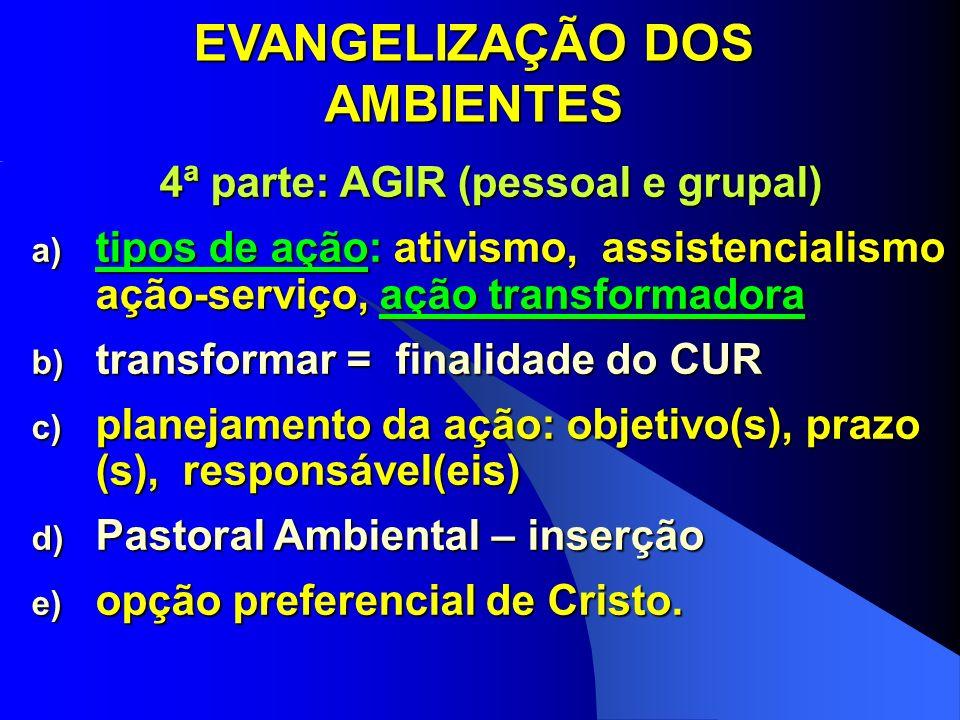 EVANGELIZAÇÃO DOS AMBIENTES 4ª parte: AGIR (pessoal e grupal)
