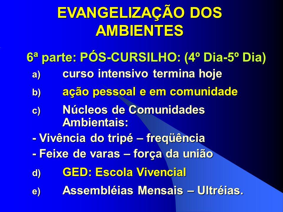 EVANGELIZAÇÃO DOS AMBIENTES 6ª parte: PÓS-CURSILHO: (4º Dia-5º Dia)