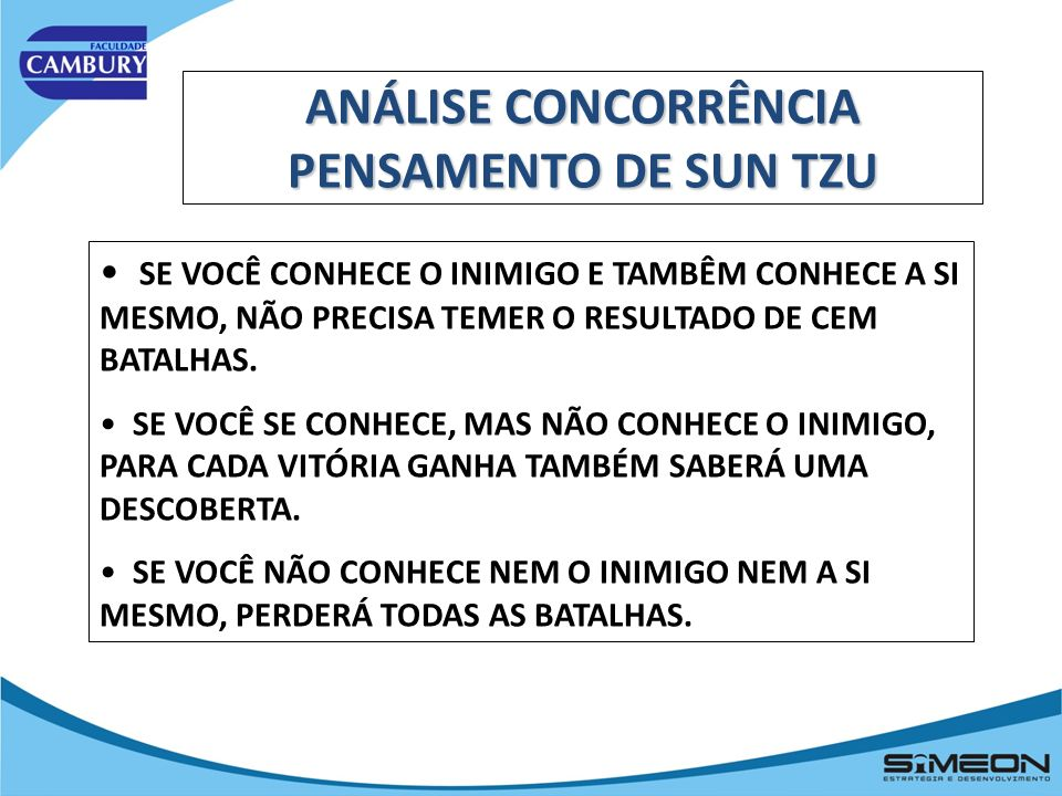 ANÁLISE CONCORRÊNCIA PENSAMENTO DE SUN TZU