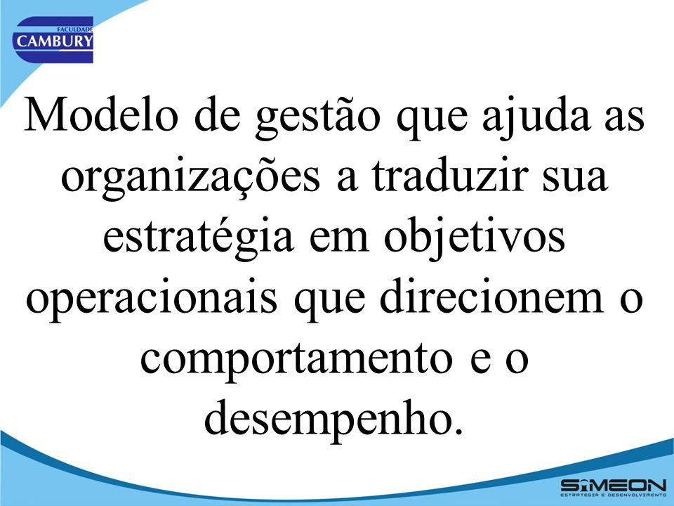 Modelo de gestão que ajuda as organizações a traduzir sua estratégia em objetivos operacionais que direcionem o comportamento e o desempenho.