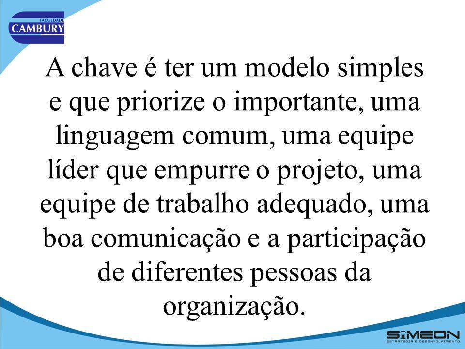 A chave é ter um modelo simples e que priorize o importante, uma linguagem comum, uma equipe líder que empurre o projeto, uma equipe de trabalho adequado, uma boa comunicação e a participação de diferentes pessoas da organização.