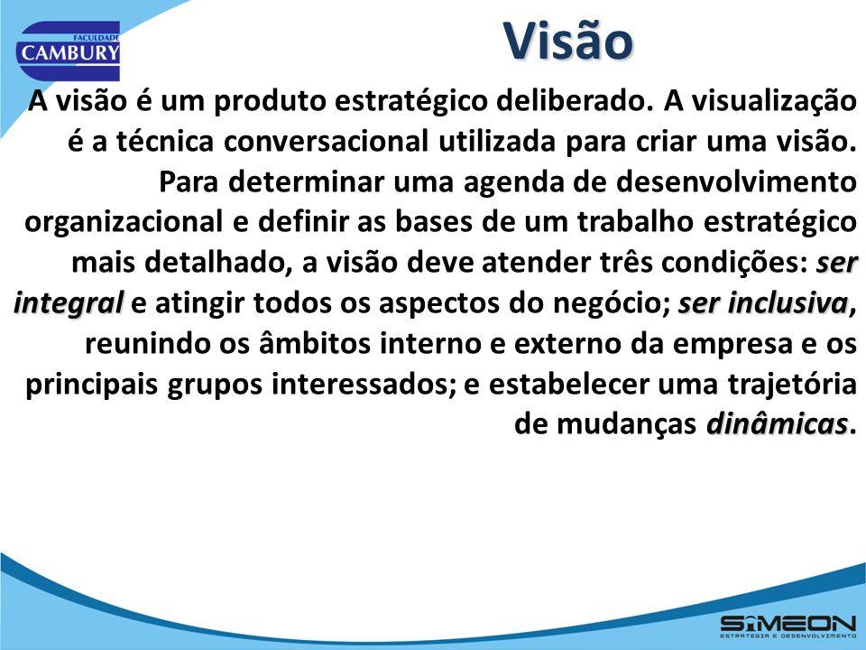 VisãoA visão é um produto estratégico deliberado. A visualização é a técnica conversacional utilizada para criar uma visão.