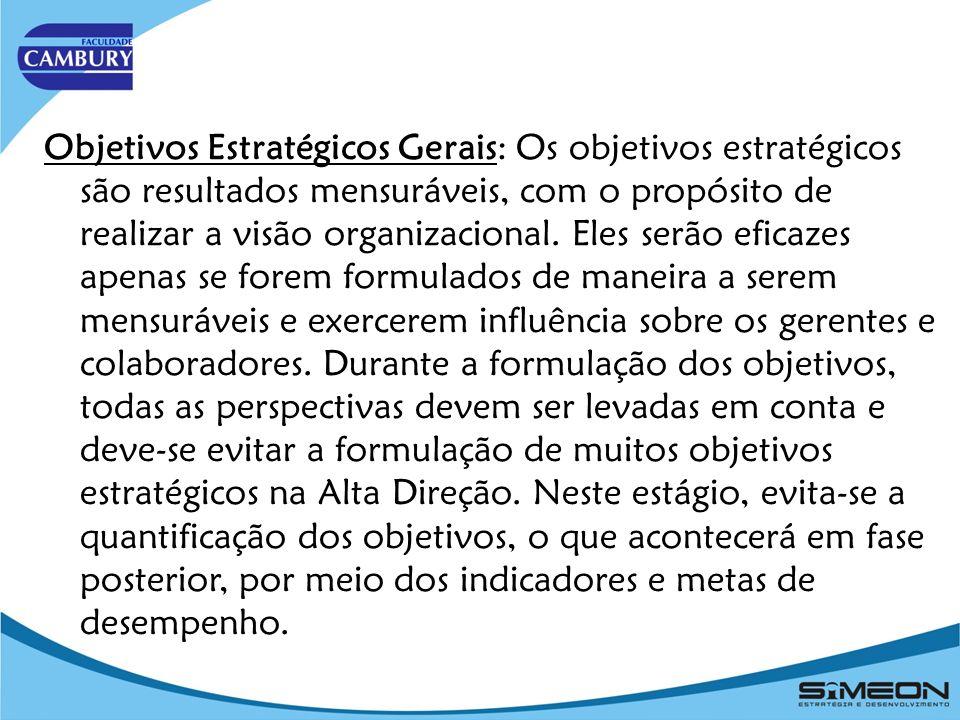 Objetivos Estratégicos Gerais: Os objetivos estratégicos são resultados mensuráveis, com o propósito de realizar a visão organizacional.
