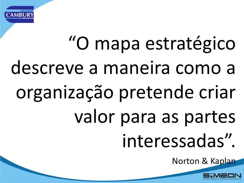 O mapa estratégico descreve a maneira como a organização pretende criar valor para as partes interessadas .