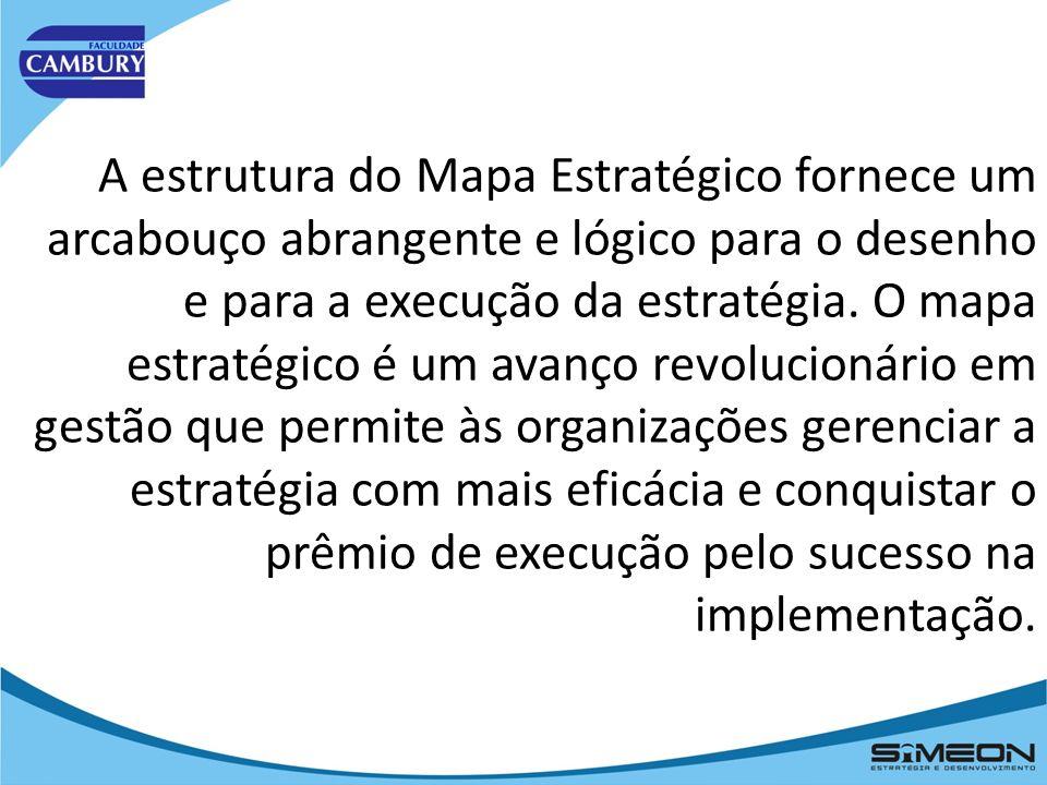 A estrutura do Mapa Estratégico fornece um arcabouço abrangente e lógico para o desenho e para a execução da estratégia.