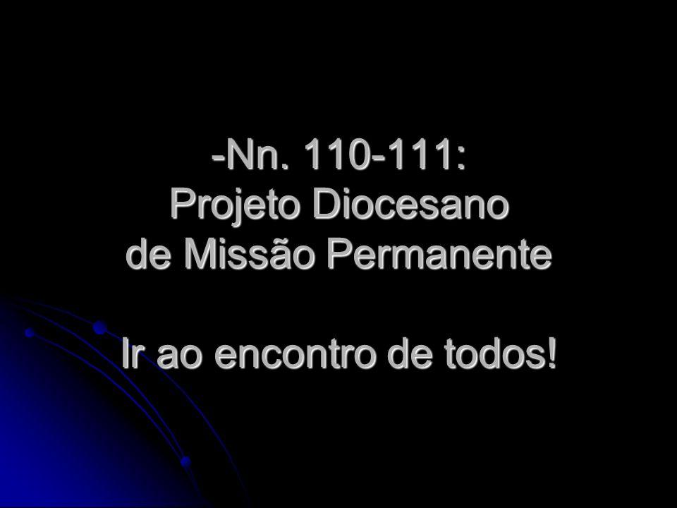 Nn. 110-111: Projeto Diocesano de Missão Permanente Ir ao encontro de todos!