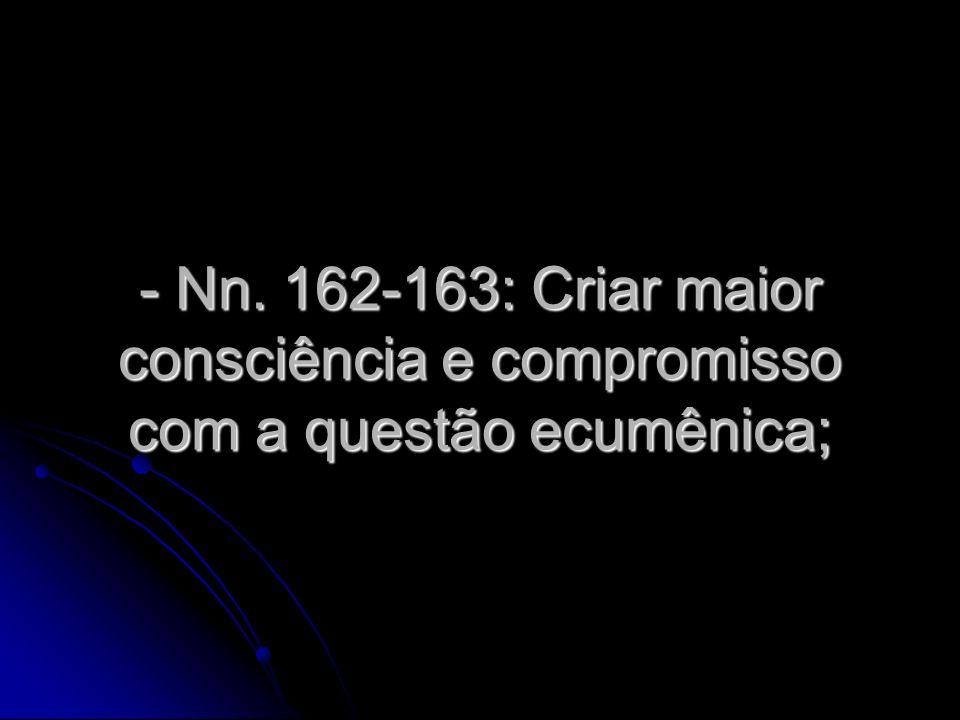 - Nn. 162-163: Criar maior consciência e compromisso com a questão ecumênica;