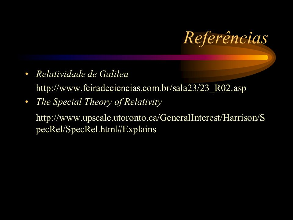 Referências Relatividade de Galileu