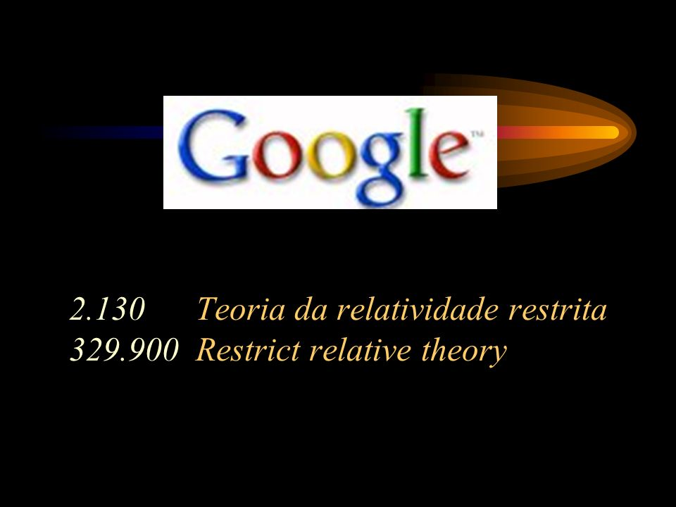 2.130 Teoria da relatividade restrita Restrict relative theory