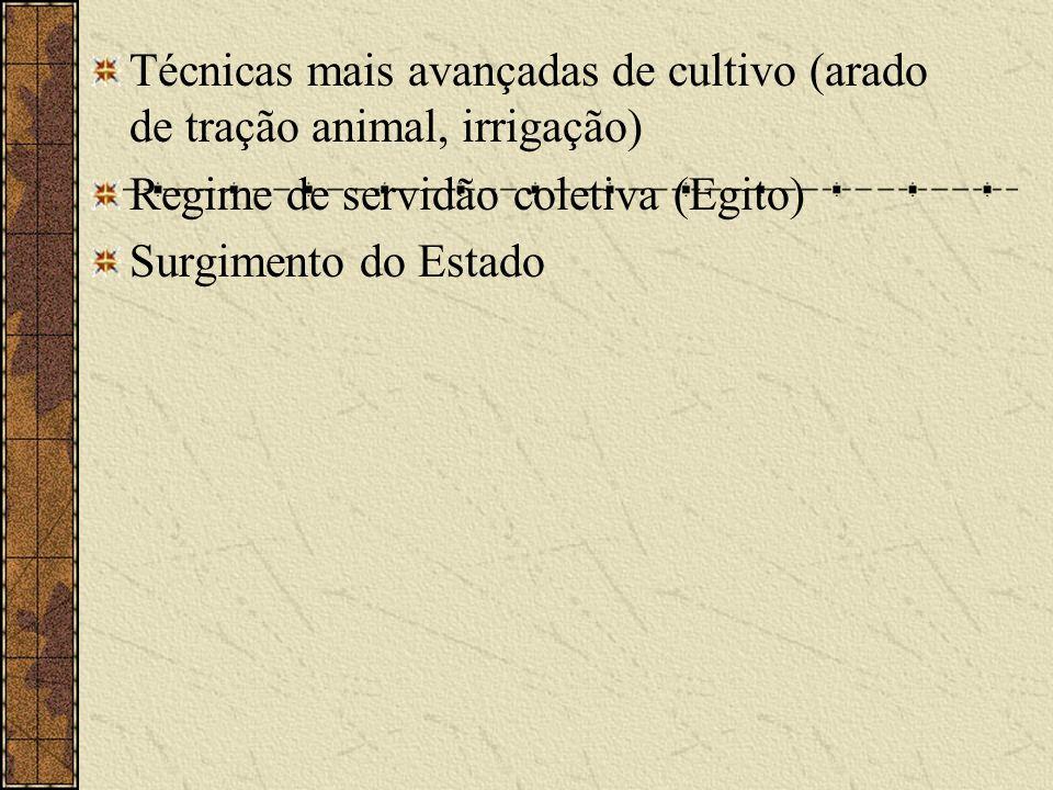 Técnicas mais avançadas de cultivo (arado de tração animal, irrigação)