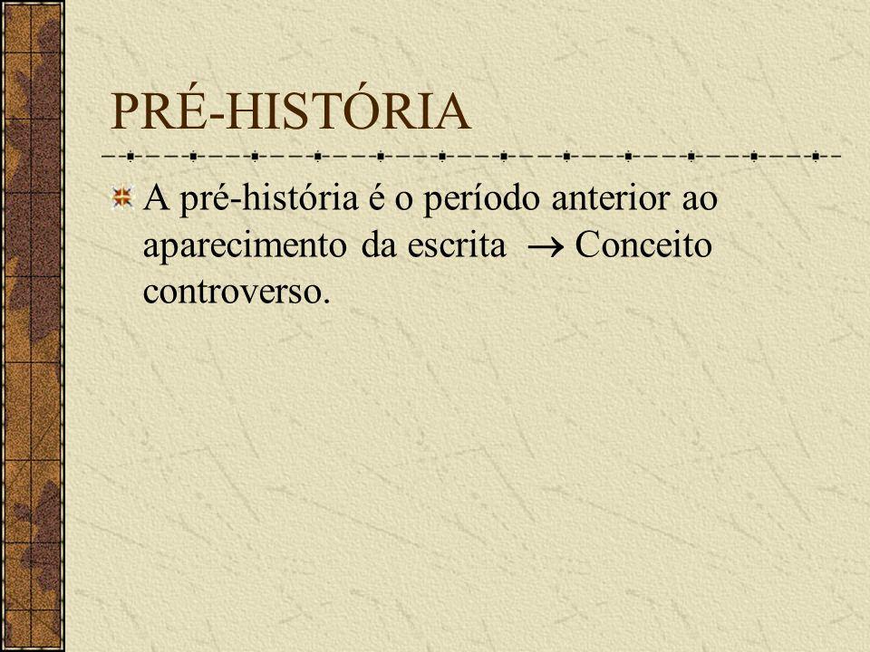 PRÉ-HISTÓRIAA pré-história é o período anterior ao aparecimento da escrita  Conceito controverso.