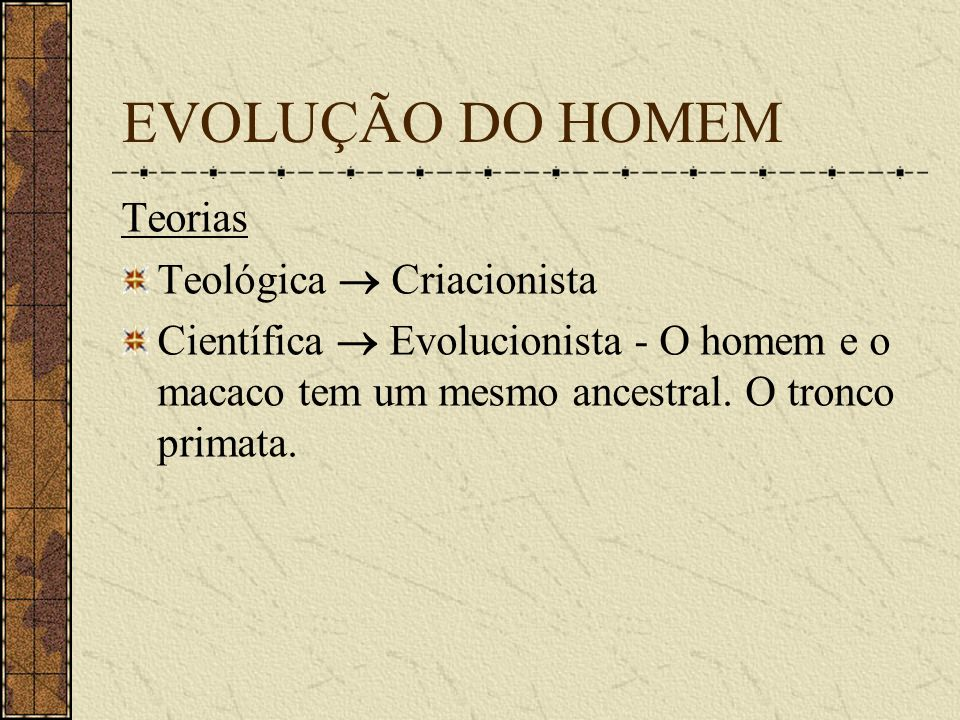 EVOLUÇÃO DO HOMEM Teorias Teológica  Criacionista