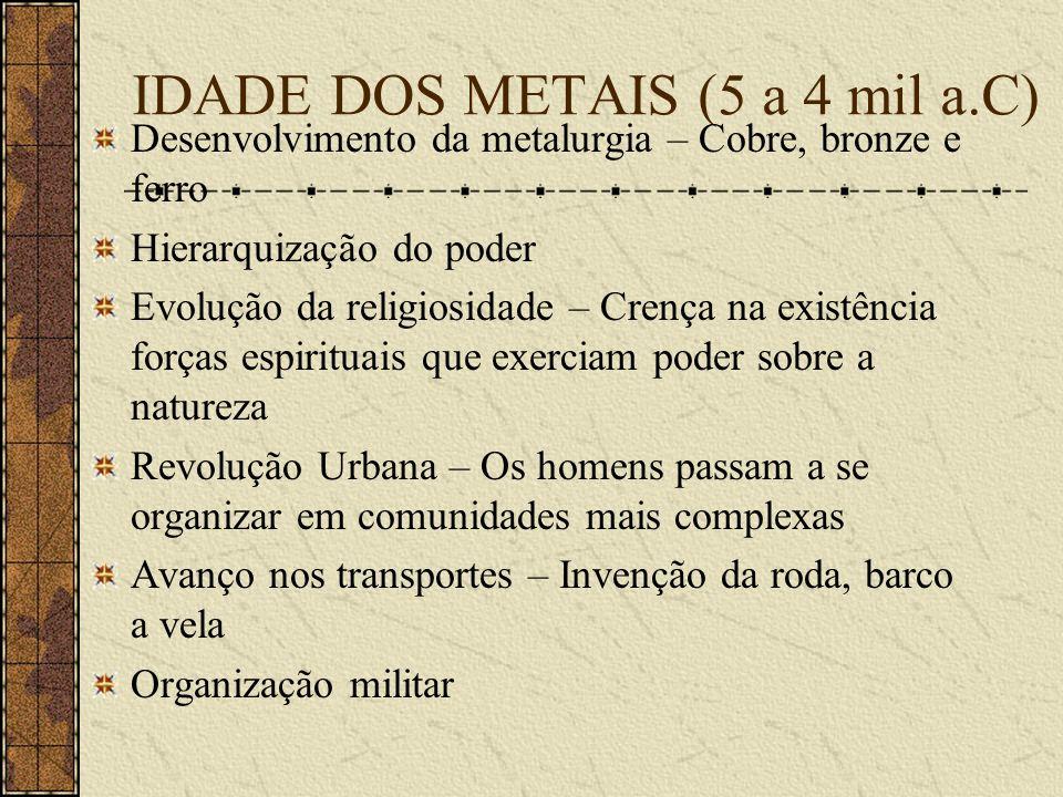 IDADE DOS METAIS (5 a 4 mil a.C)