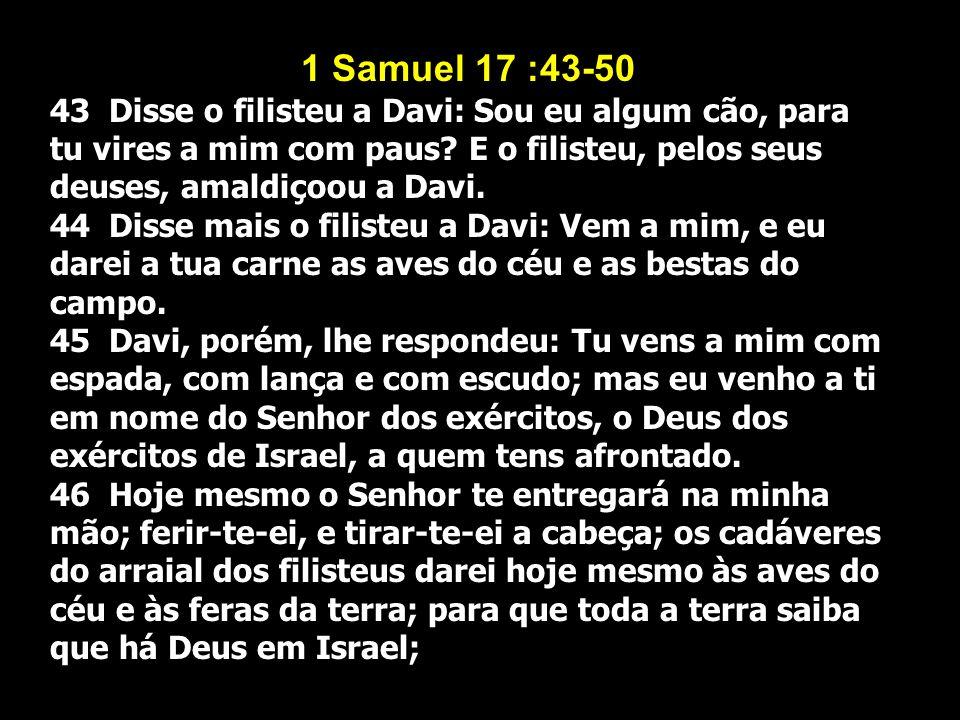 1 Samuel 17 :43-50 43 Disse o filisteu a Davi: Sou eu algum cão, para tu vires a mim com paus E o filisteu, pelos seus deuses, amaldiçoou a Davi.