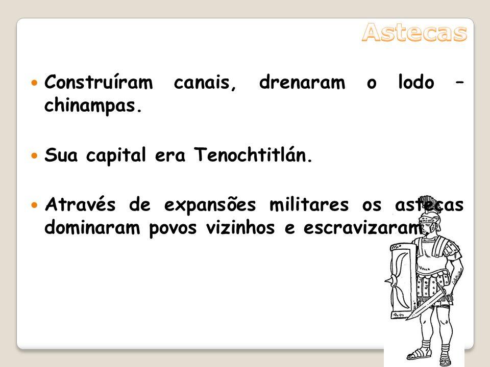 Astecas Construíram canais, drenaram o lodo – chinampas.