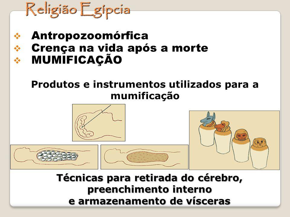 Produtos e instrumentos utilizados para a mumificação