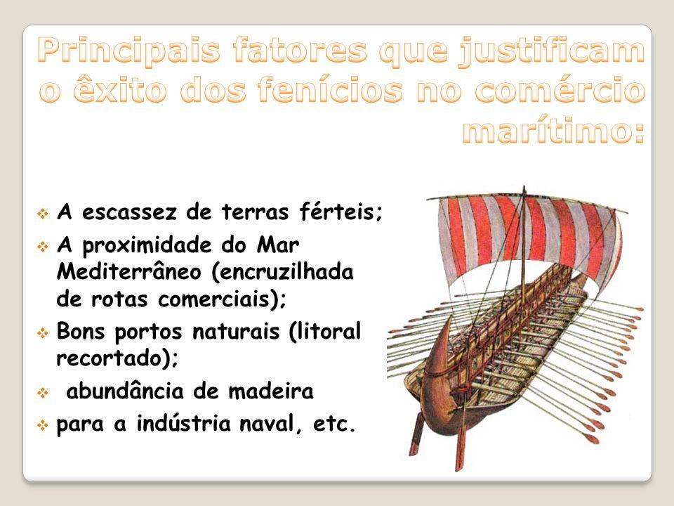 Principais fatores que justificam o êxito dos fenícios no comércio marítimo: