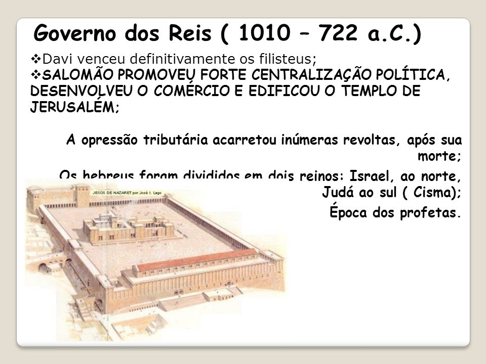 Governo dos Reis ( 1010 – 722 a.C.)Davi venceu definitivamente os filisteus;