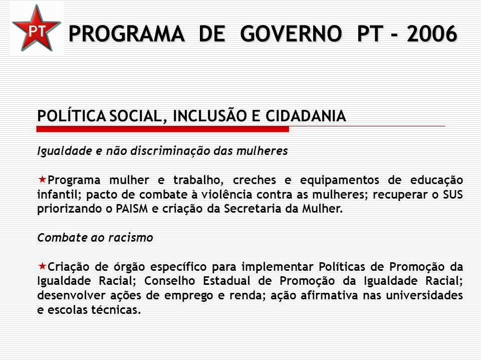 PROGRAMA DE GOVERNO PT - 2006