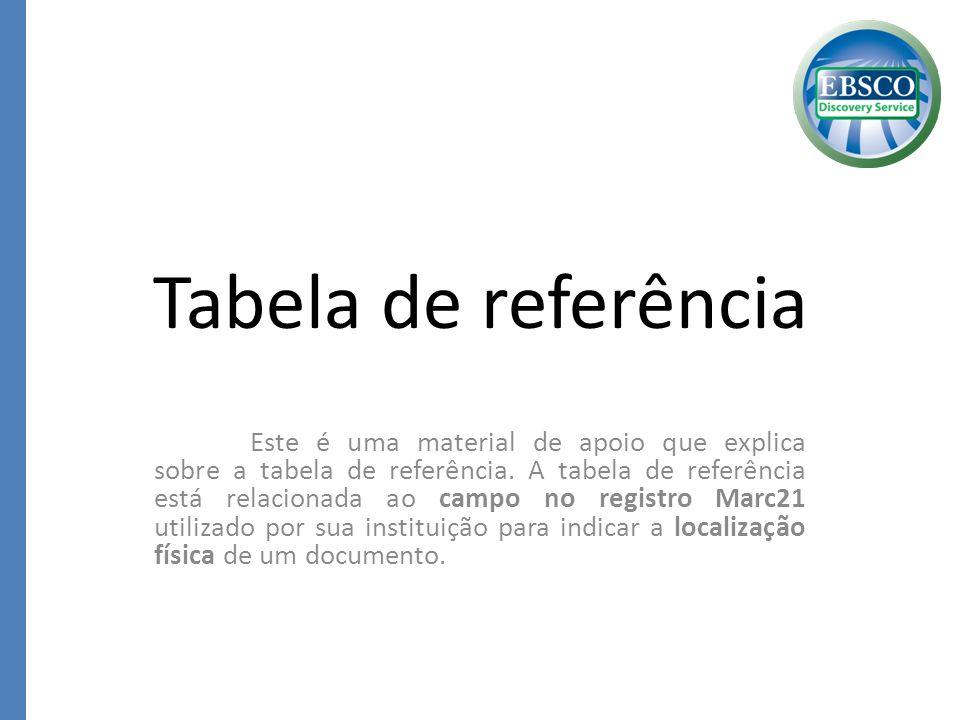 Tabela de referência
