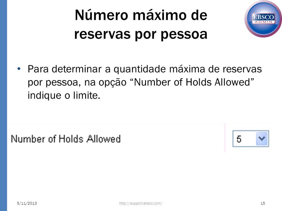 Número máximo de reservas por pessoa