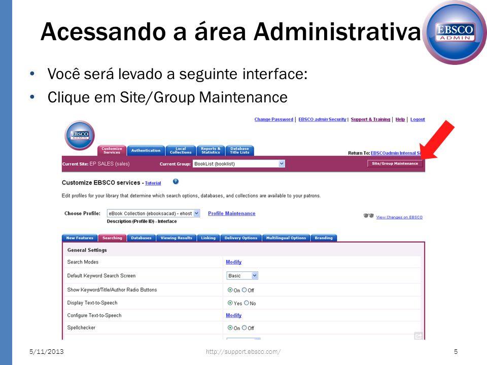 Acessando a área Administrativa