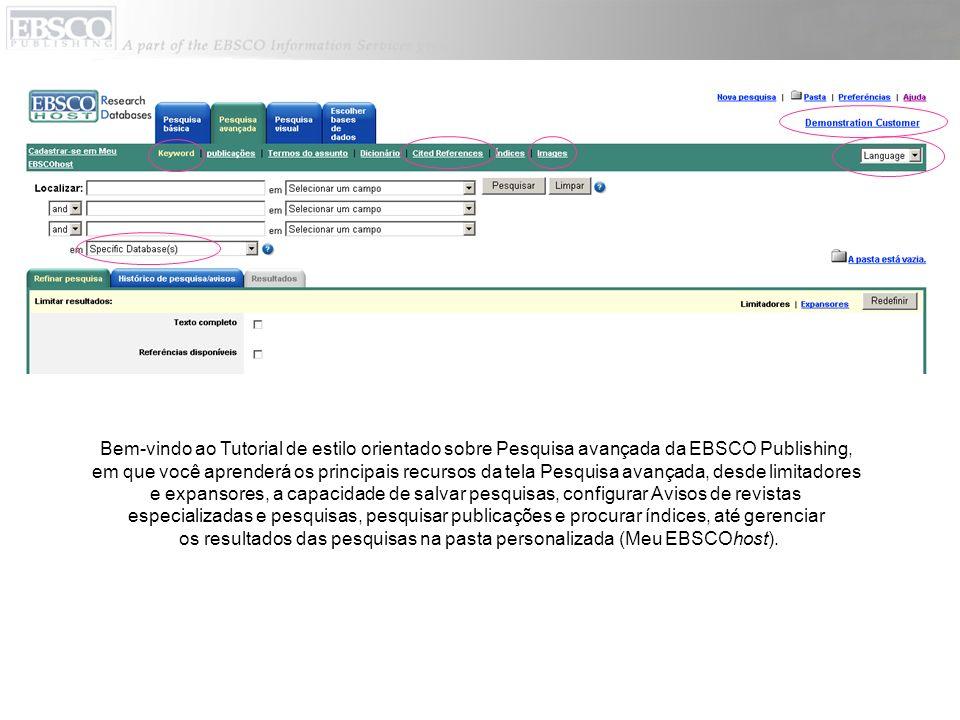 os resultados das pesquisas na pasta personalizada (Meu EBSCOhost).