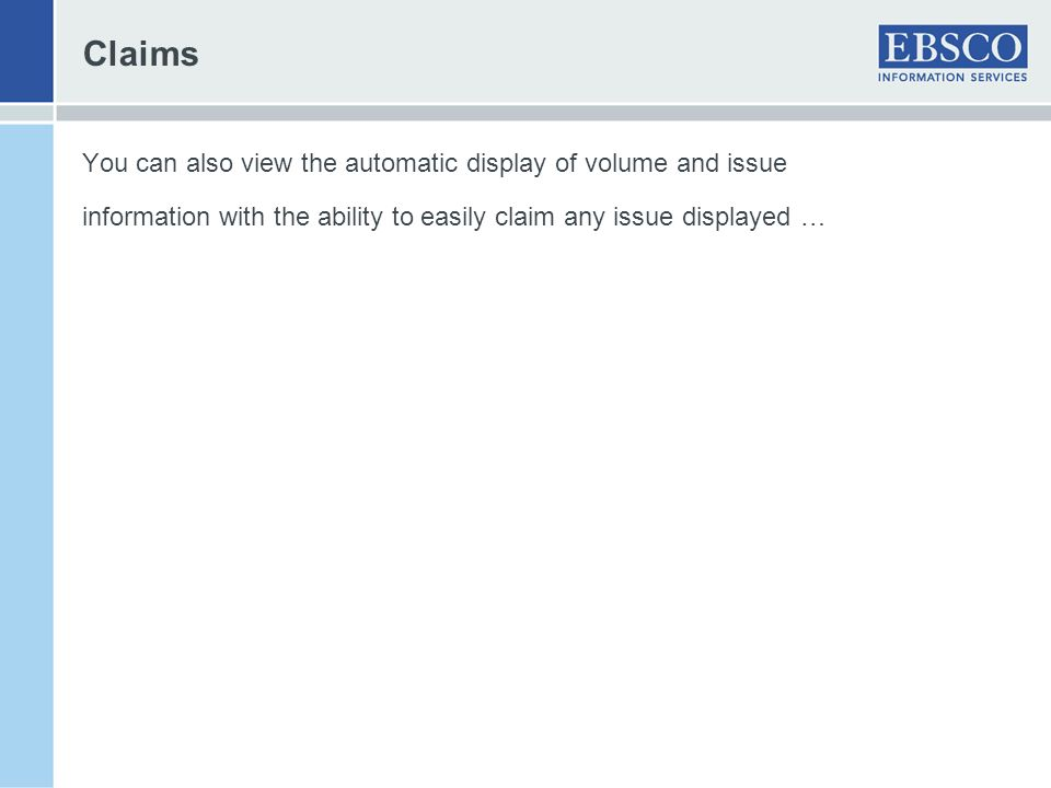 Claims You can also view the automatic display of volume and issue