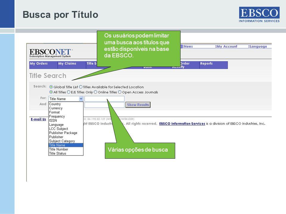 Busca por Título Os usuários podem limitar uma busca aos títulos que estão disponíveis na base da EBSCO.